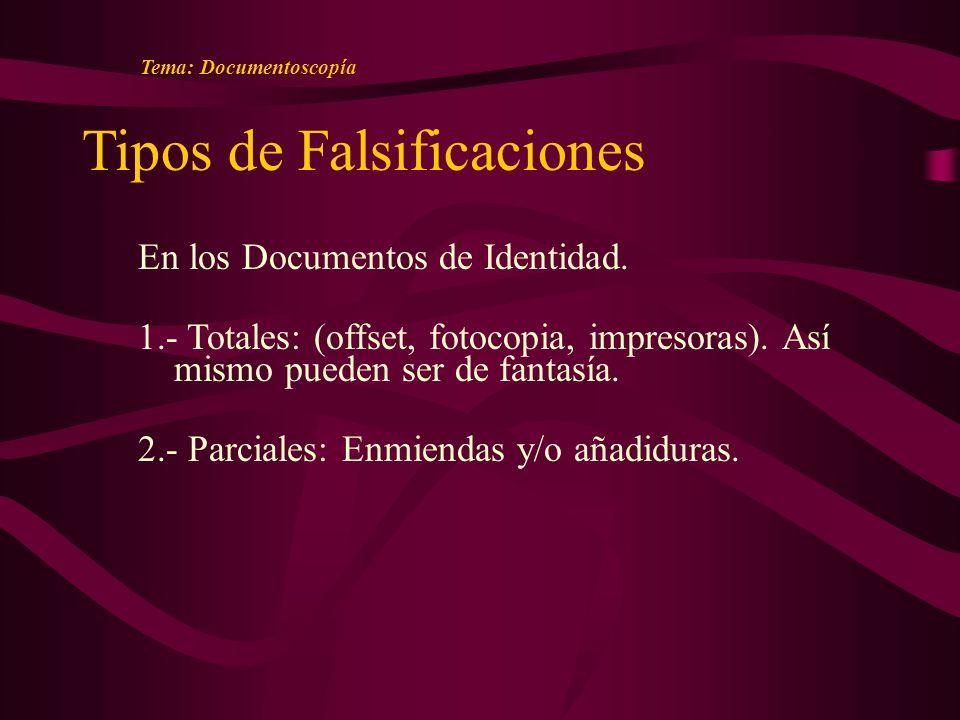 Tipos de Falsificaciones En los Documentos de Identidad.