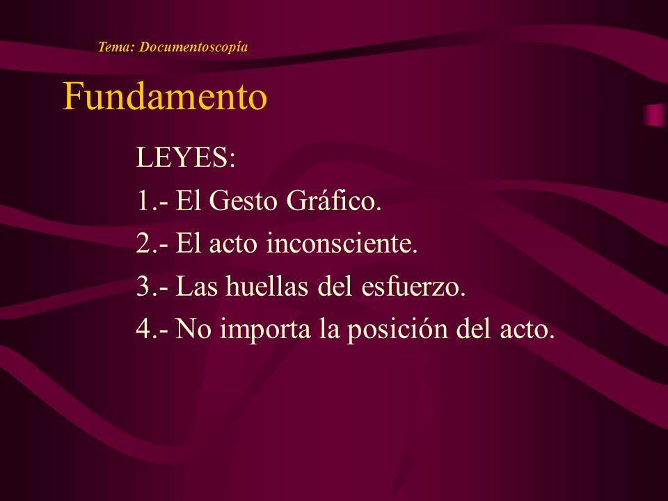 Fundamento Tema: Documentoscopía LEYES: 1.- El Gesto Gráfico.
