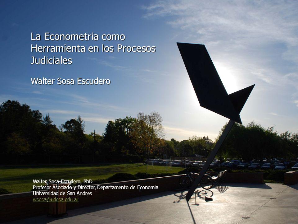 La Econometria como Herramienta en los Procesos Judiciales Walter Sosa Escudero Walter Sosa-Escudero, PhD Profesor Asociado y Director, Departamento d