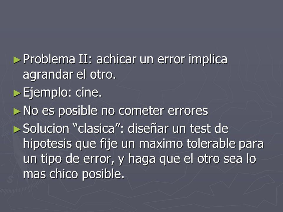 Problema II: achicar un error implica agrandar el otro. Problema II: achicar un error implica agrandar el otro. Ejemplo: cine. Ejemplo: cine. No es po