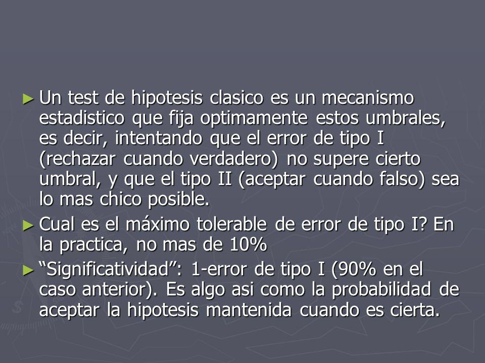 Un test de hipotesis clasico es un mecanismo estadistico que fija optimamente estos umbrales, es decir, intentando que el error de tipo I (rechazar cu