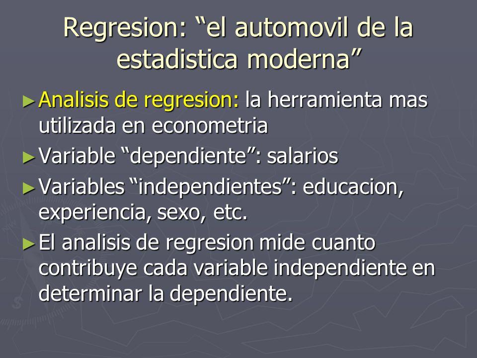 Regresion: el automovil de la estadistica moderna Analisis de regresion: la herramienta mas utilizada en econometria Analisis de regresion: la herrami