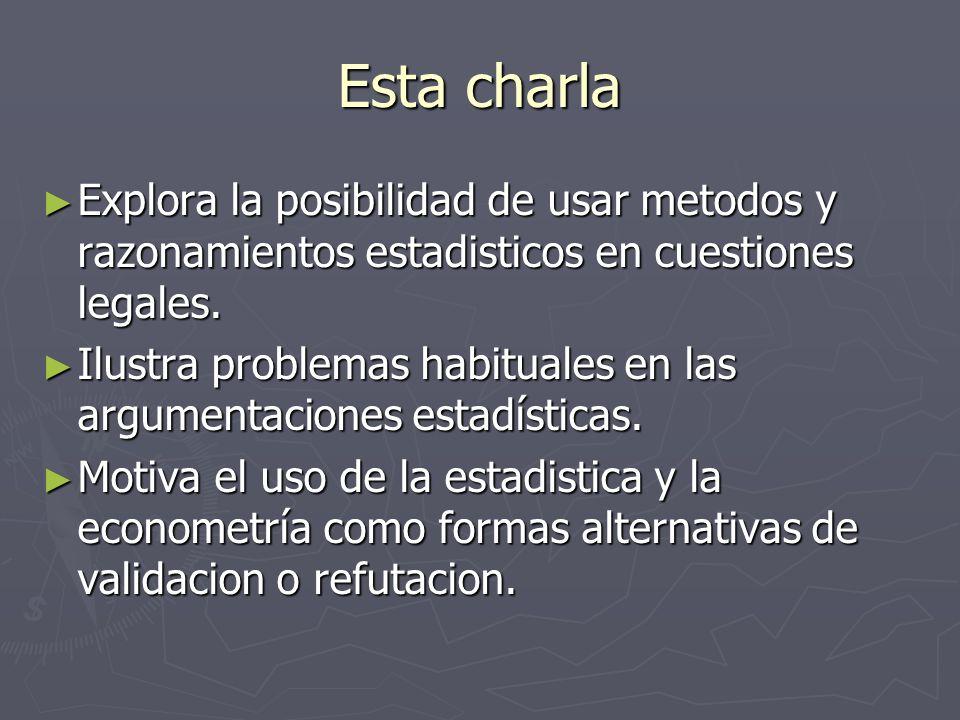 Esta charla Explora la posibilidad de usar metodos y razonamientos estadisticos en cuestiones legales. Explora la posibilidad de usar metodos y razona