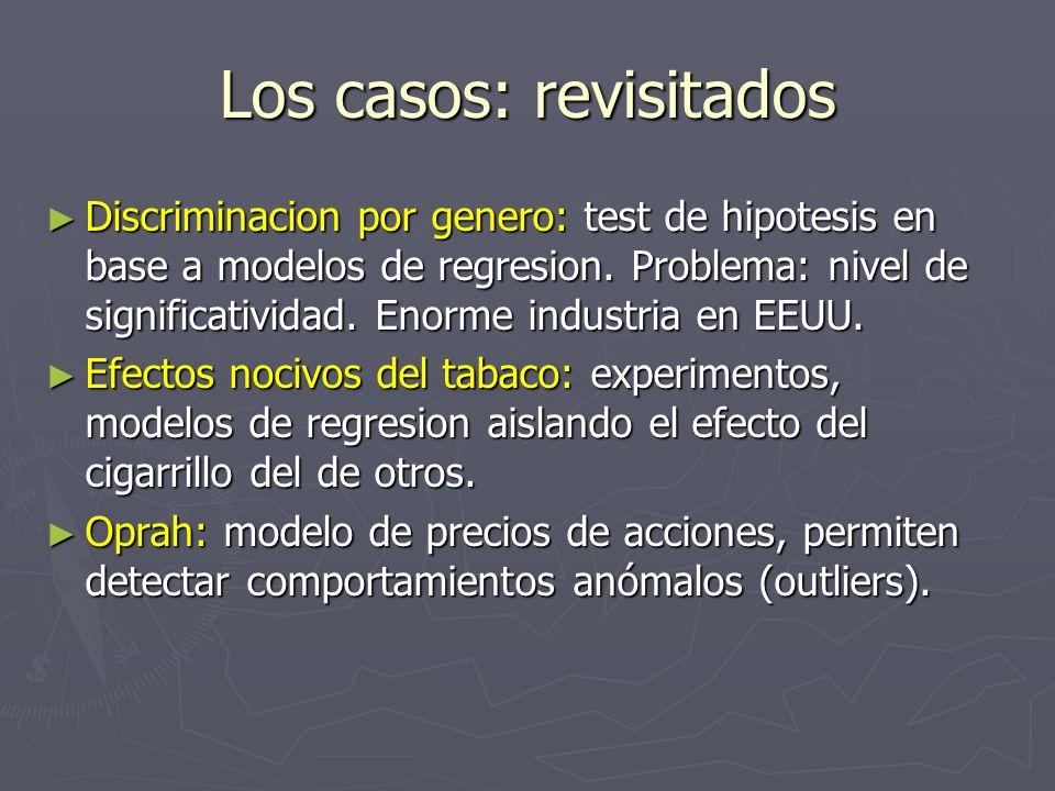 Los casos: revisitados Discriminacion por genero: test de hipotesis en base a modelos de regresion. Problema: nivel de significatividad. Enorme indust