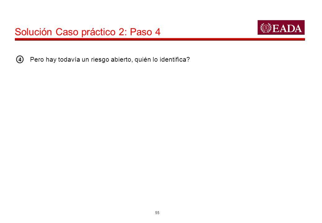 55 Solución Caso práctico 2: Paso 4 Pero hay todavía un riesgo abierto, quién lo identifica? 4