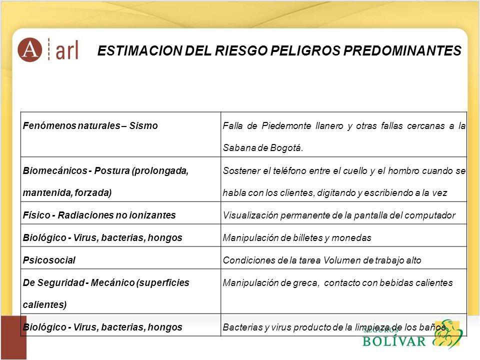 Fenómenos naturales – Sismo Falla de Piedemonte llanero y otras fallas cercanas a la Sabana de Bogotá. Biomecánicos - Postura (prolongada, mantenida,