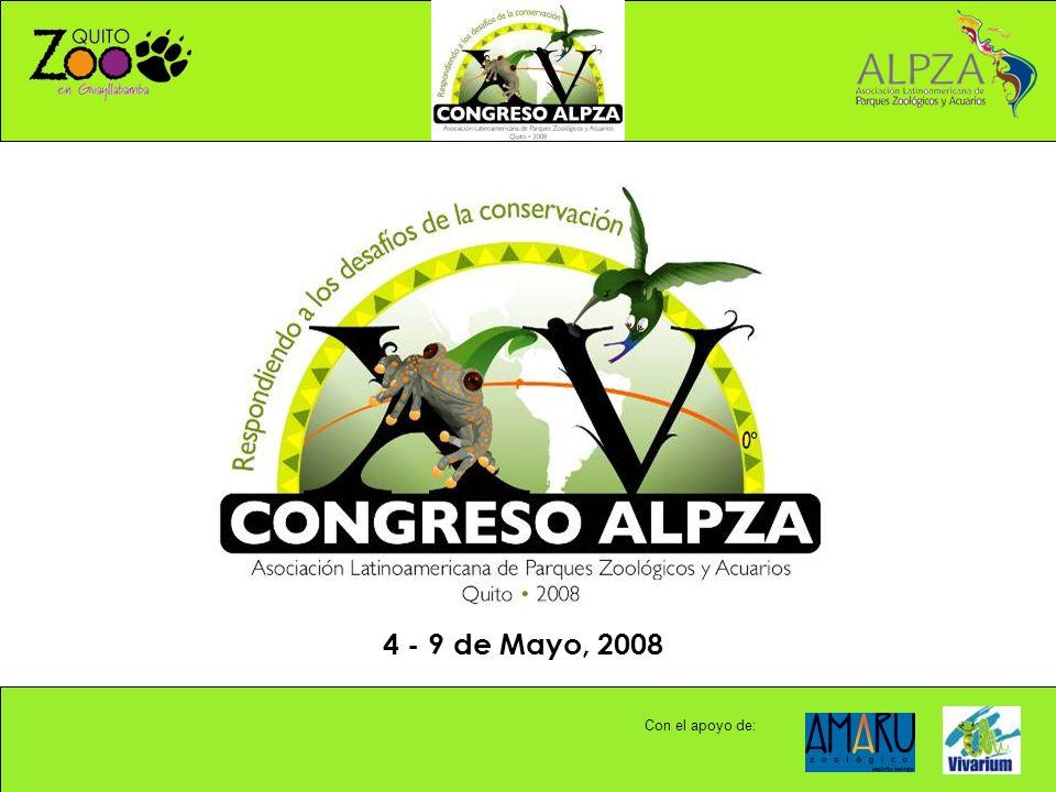 XV CONGRESO ALPZA - COORDINACION GENERAL: PRESIDENTA: Maria Clara Domínguez mclarad@zoologicodecali.com.comclarad@zoologicodecali.com.co DIRECTORA EJECUTIVA: Diana Sarmiento diasarm@gmail.comdiasarm@gmail.com PARA MAYOR INFORMACION: ENTIDADES DE APOYO EN ECUADOR: FUNDACION ZOOLOGICA DEL ECUADOR ZOOLOGICO DE QUITO Mario Garc í a - Director Ejecutivo: mgarcia@quitozoo.orgmgarcia@quitozoo.org Maria Elena Est é vez - Asistencia operativa: info@quitozoo.orginfo@quitozoo.org alpza@alpza.com xvcongresoalpza@gmail.com