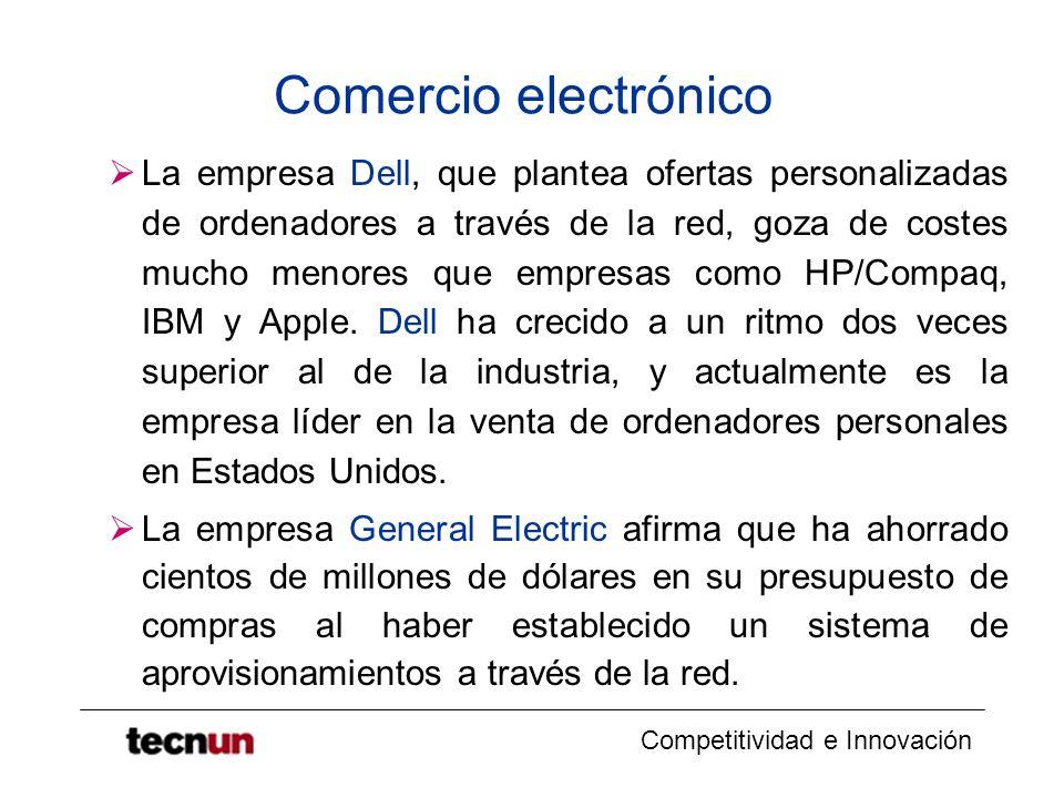 Competitividad e Innovación Comercio electrónico La empresa Dell, que plantea ofertas personalizadas de ordenadores a través de la red, goza de costes mucho menores que empresas como HP/Compaq, IBM y Apple.