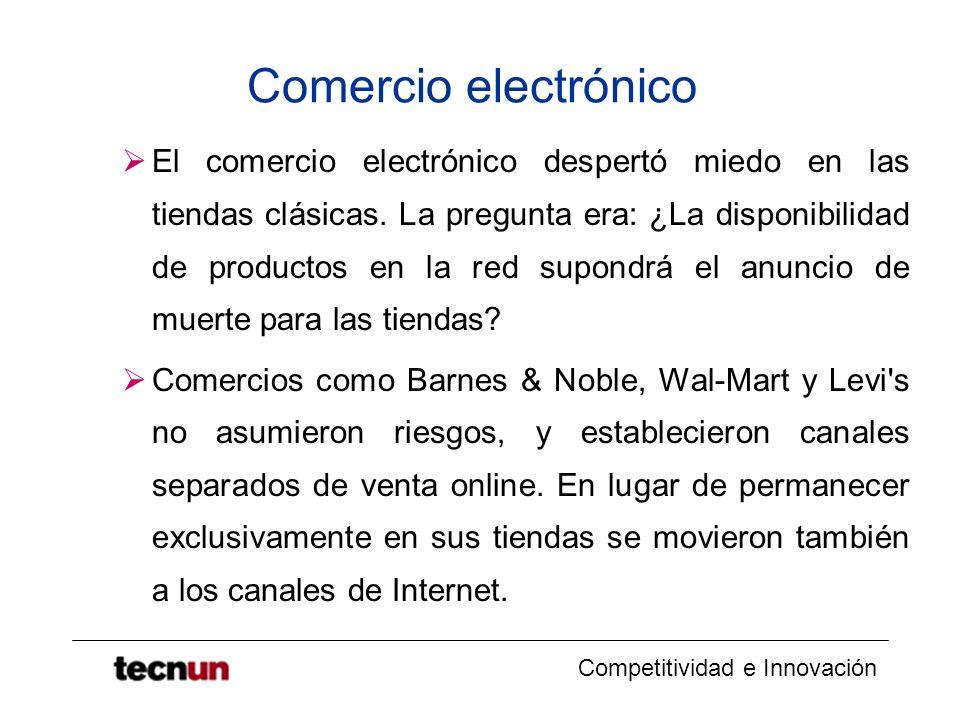 Competitividad e Innovación Comercio electrónico El comercio electrónico despertó miedo en las tiendas clásicas. La pregunta era: ¿La disponibilidad d
