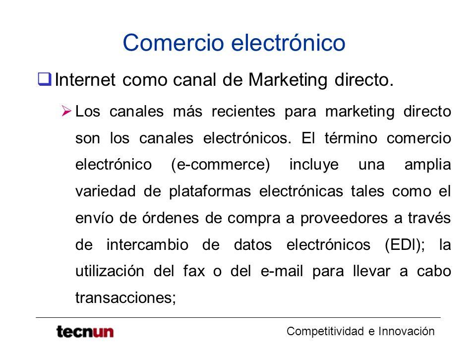 Competitividad e Innovación Comercio electrónico Internet como canal de Marketing directo. Los canales más recientes para marketing directo son los ca