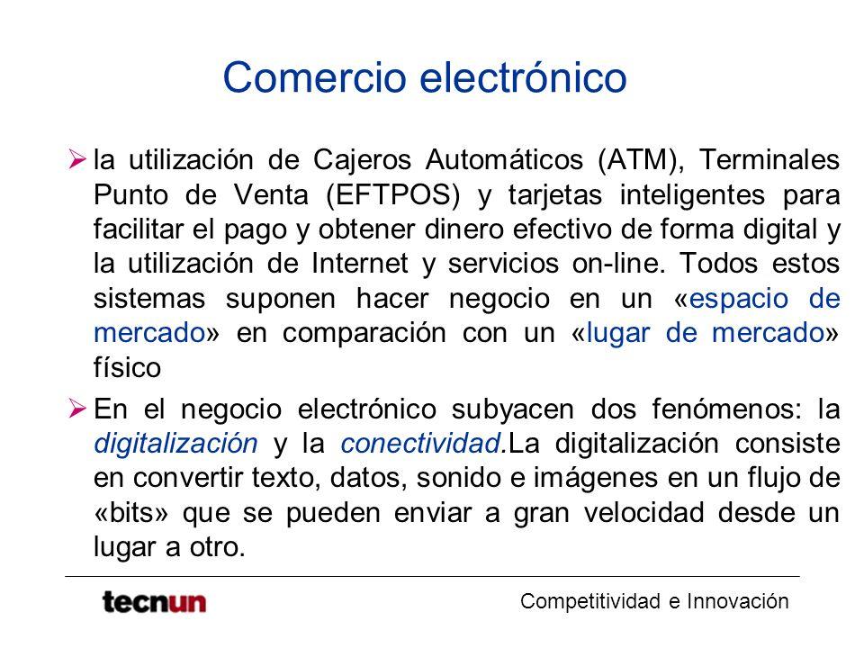 Competitividad e Innovación Comercio electrónico la utilización de Cajeros Automáticos (ATM), Terminales Punto de Venta (EFTPOS) y tarjetas inteligentes para facilitar el pago y obtener dinero efectivo de forma digital y la utilización de Internet y servicios on-line.