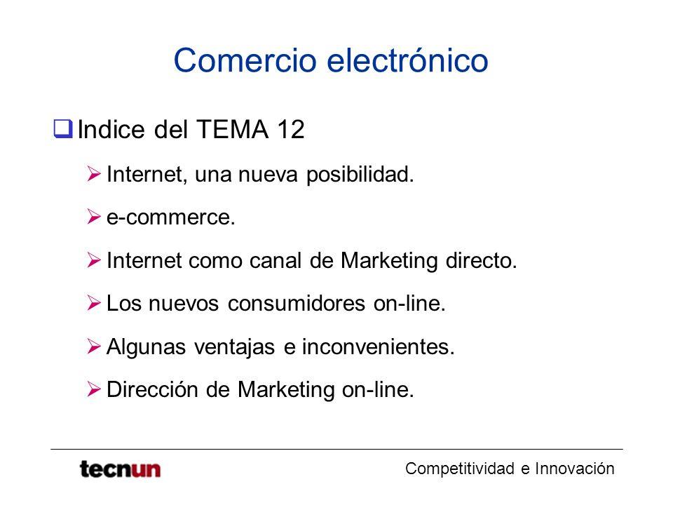 Competitividad e Innovación Comercio electrónico Indice del TEMA 12 Internet, una nueva posibilidad. e-commerce. Internet como canal de Marketing dire