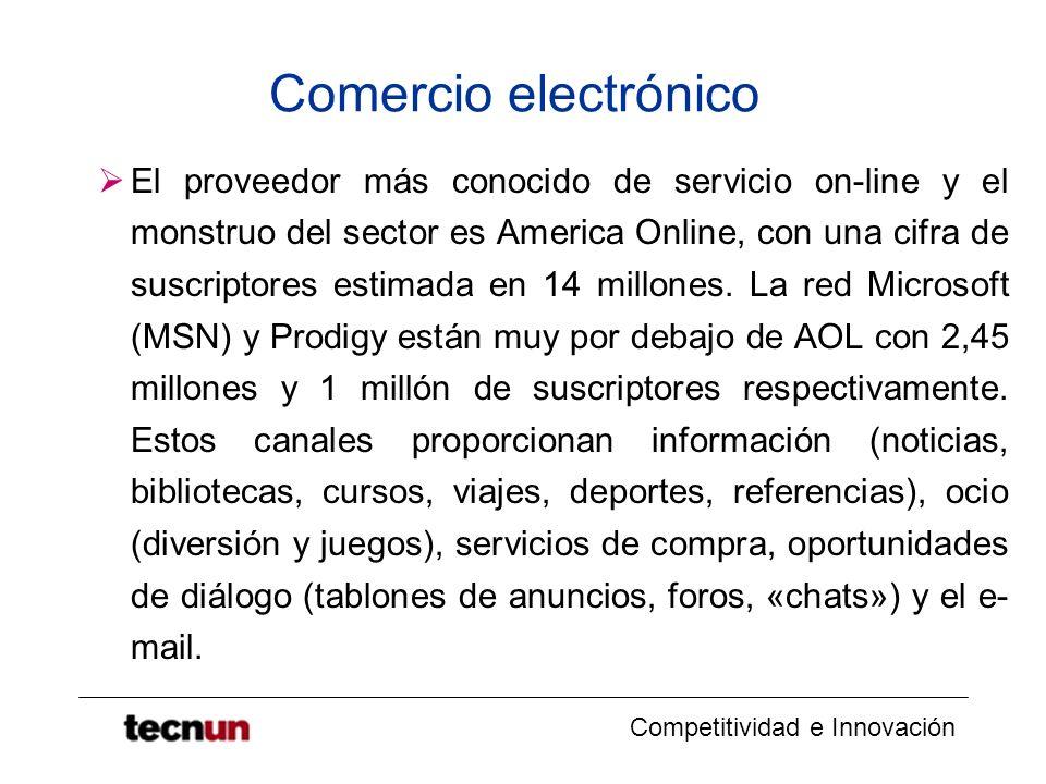 Competitividad e Innovación Comercio electrónico El proveedor más conocido de servicio on-line y el monstruo del sector es America Online, con una cifra de suscriptores estimada en 14 millones.