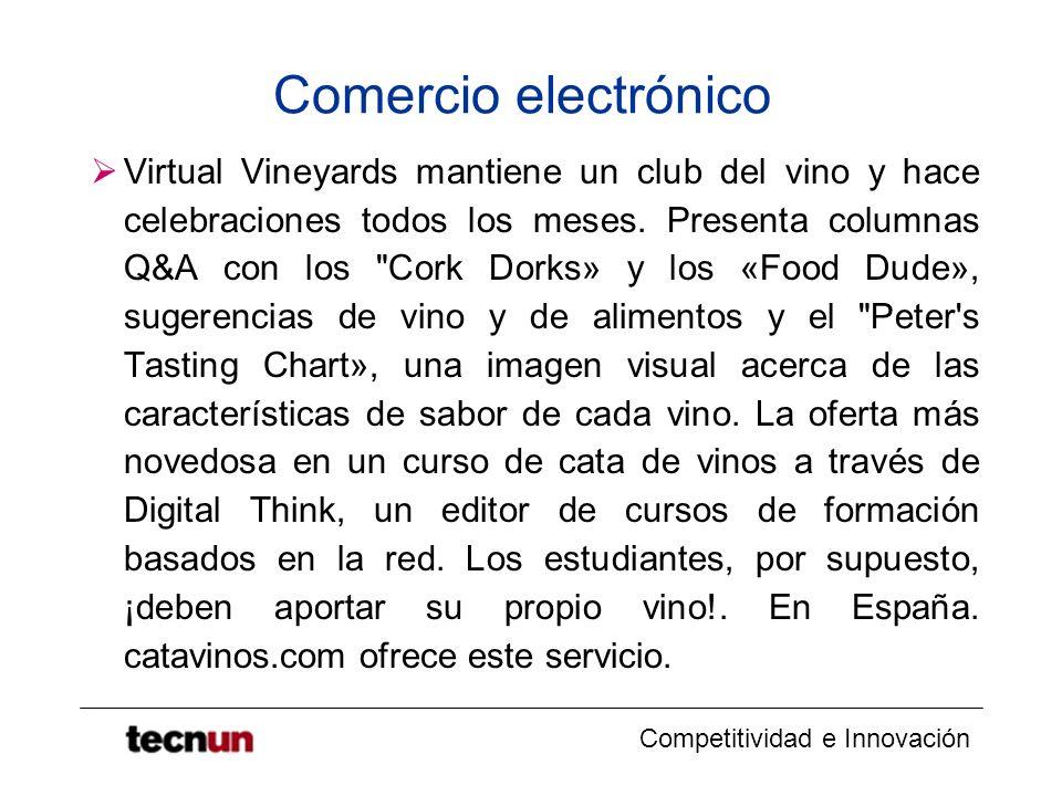 Competitividad e Innovación Comercio electrónico Virtual Vineyards mantiene un club del vino y hace celebraciones todos los meses. Presenta columnas Q