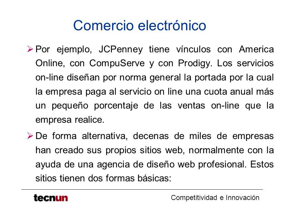 Competitividad e Innovación Comercio electrónico Por ejemplo, JCPenney tiene vínculos con America Online, con CompuServe y con Prodigy. Los servicios