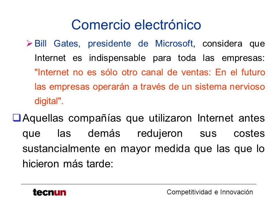 Competitividad e Innovación Comercio electrónico Bill Gates, presidente de Microsoft, considera que Internet es indispensable para toda las empresas: Internet no es sólo otro canal de ventas: En el futuro las empresas operarán a través de un sistema nervioso digital .