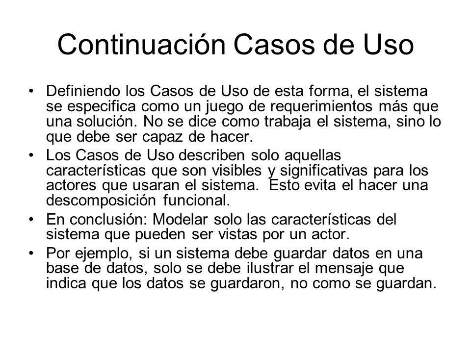 Continuación Casos de Uso Definiendo los Casos de Uso de esta forma, el sistema se especifica como un juego de requerimientos más que una solución.