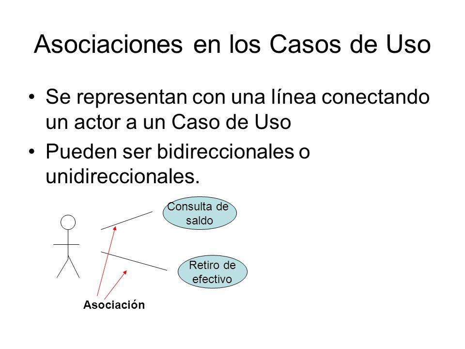Asociaciones en los Casos de Uso Se representan con una línea conectando un actor a un Caso de Uso Pueden ser bidireccionales o unidireccionales.