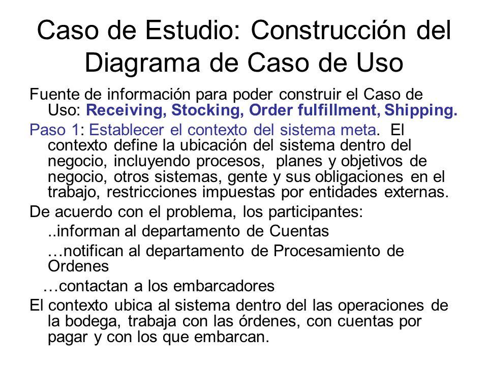 Caso de Estudio: Construcción del Diagrama de Caso de Uso Fuente de información para poder construir el Caso de Uso: Receiving, Stocking, Order fulfillment, Shipping.