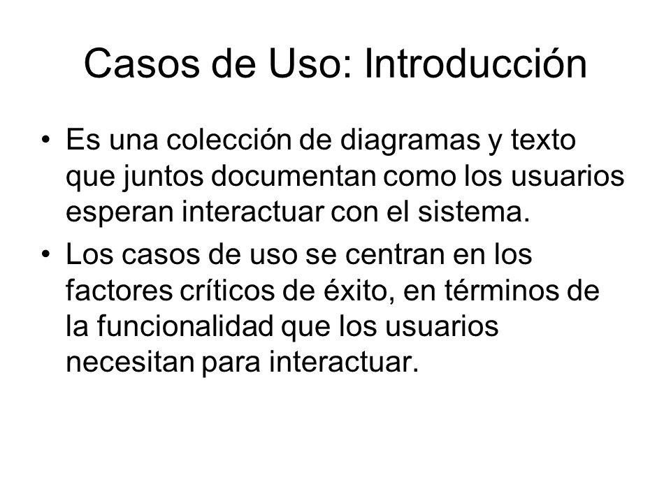 Casos de Uso: Introducción Es una colección de diagramas y texto que juntos documentan como los usuarios esperan interactuar con el sistema.