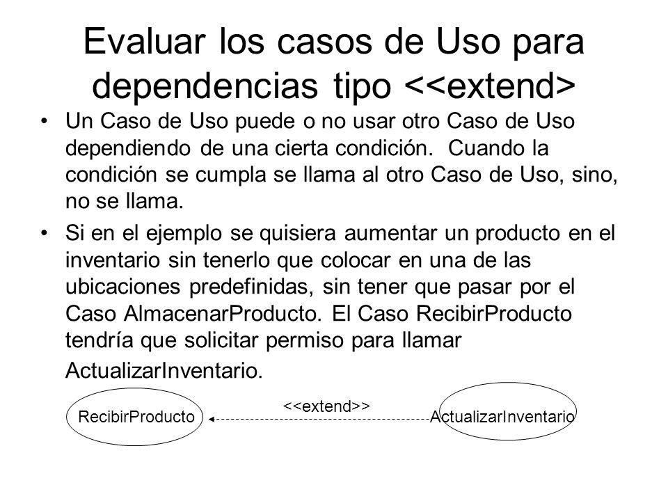 Evaluar los casos de Uso para dependencias tipo Un Caso de Uso puede o no usar otro Caso de Uso dependiendo de una cierta condición.
