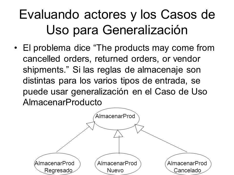 Evaluando actores y los Casos de Uso para Generalización El problema dice The products may come from cancelled orders, returned orders, or vendor shipments.
