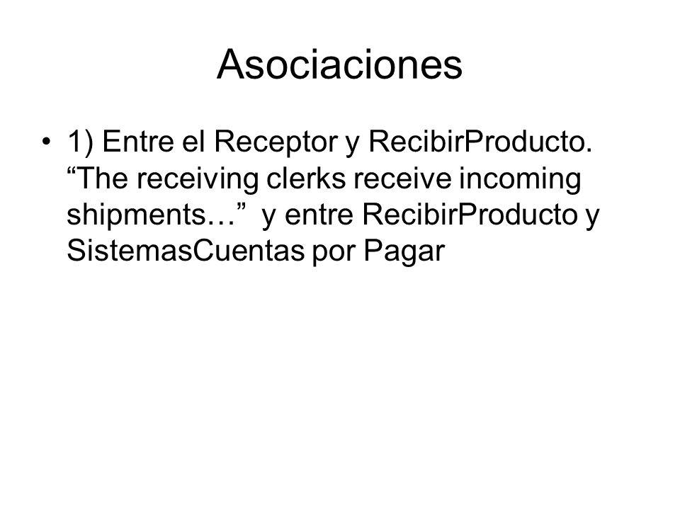 Asociaciones 1) Entre el Receptor y RecibirProducto.