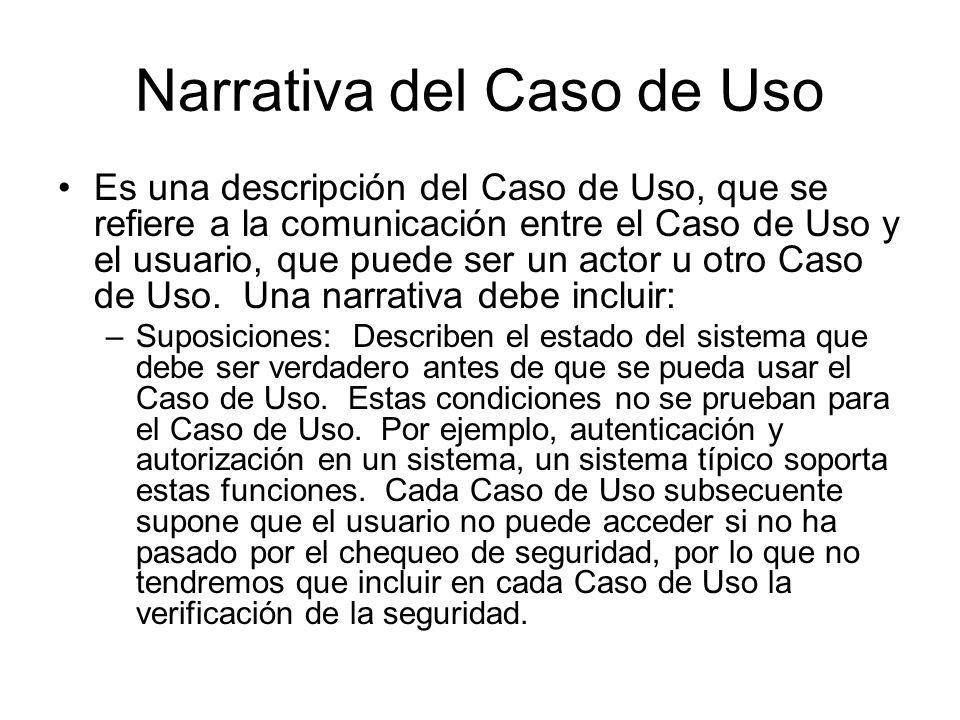 Narrativa del Caso de Uso Es una descripción del Caso de Uso, que se refiere a la comunicación entre el Caso de Uso y el usuario, que puede ser un actor u otro Caso de Uso.
