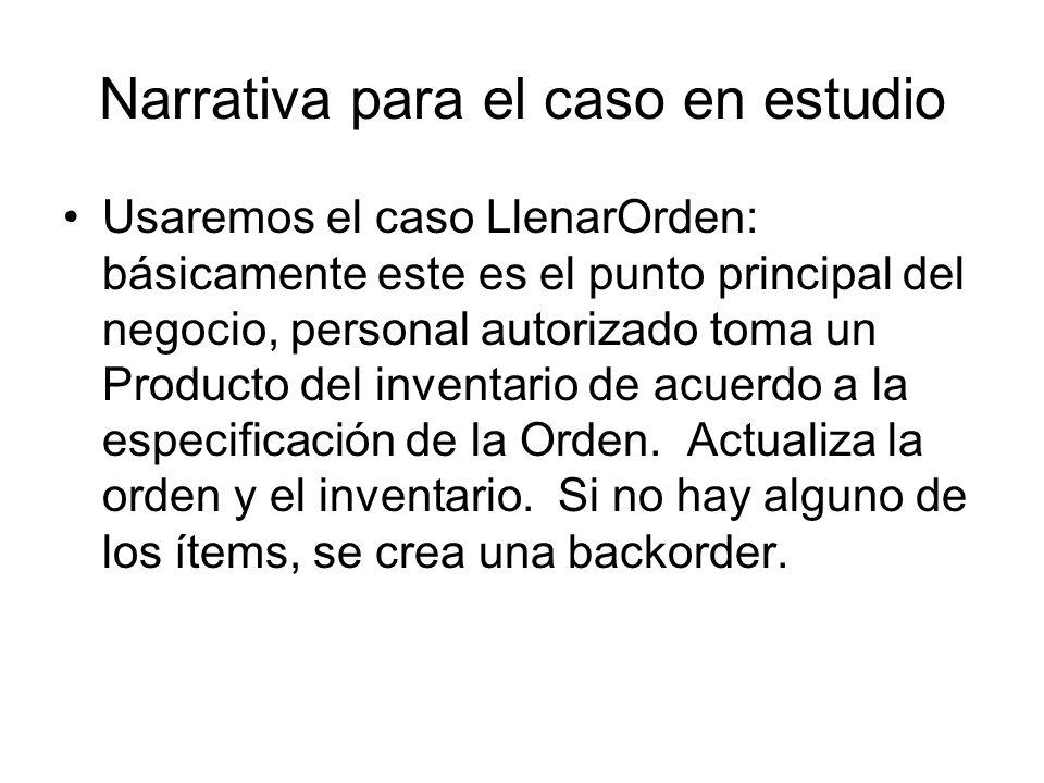 Narrativa para el caso en estudio Usaremos el caso LlenarOrden: básicamente este es el punto principal del negocio, personal autorizado toma un Producto del inventario de acuerdo a la especificación de la Orden.