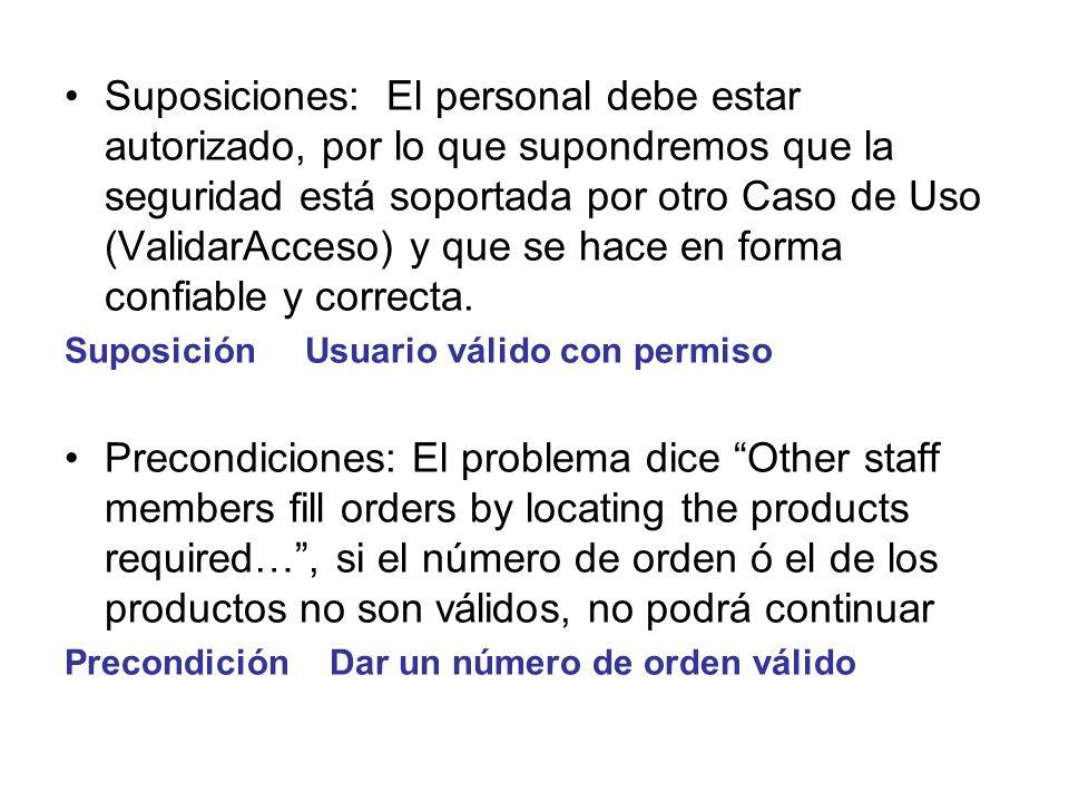 Suposiciones: El personal debe estar autorizado, por lo que supondremos que la seguridad está soportada por otro Caso de Uso (ValidarAcceso) y que se hace en forma confiable y correcta.