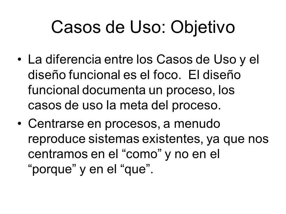Casos de Uso: Objetivo La diferencia entre los Casos de Uso y el diseño funcional es el foco.