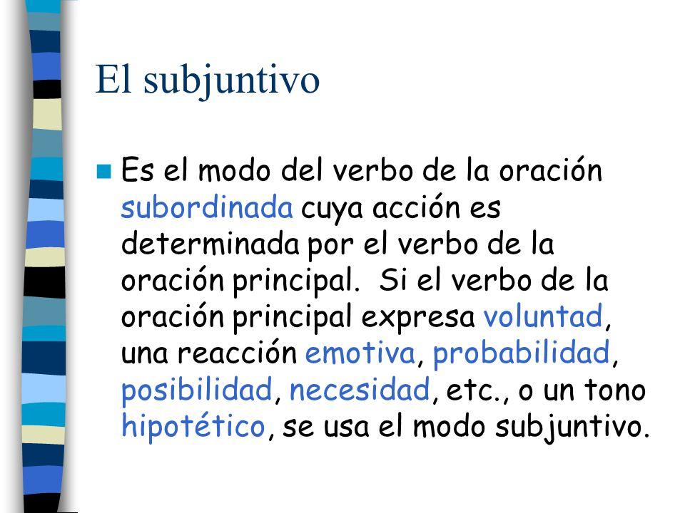 Es el modo del verbo de la oración subordinada cuya acción es determinada por el verbo de la oración principal. Si el verbo de la oración principal ex