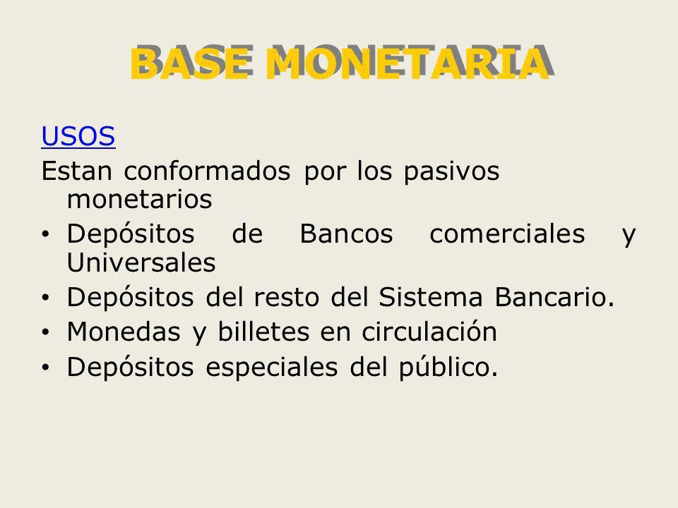 BASE MONETARIA USOS Estan conformados por los pasivos monetarios Depósitos de Bancos comerciales y Universales Depósitos del resto del Sistema Bancario.