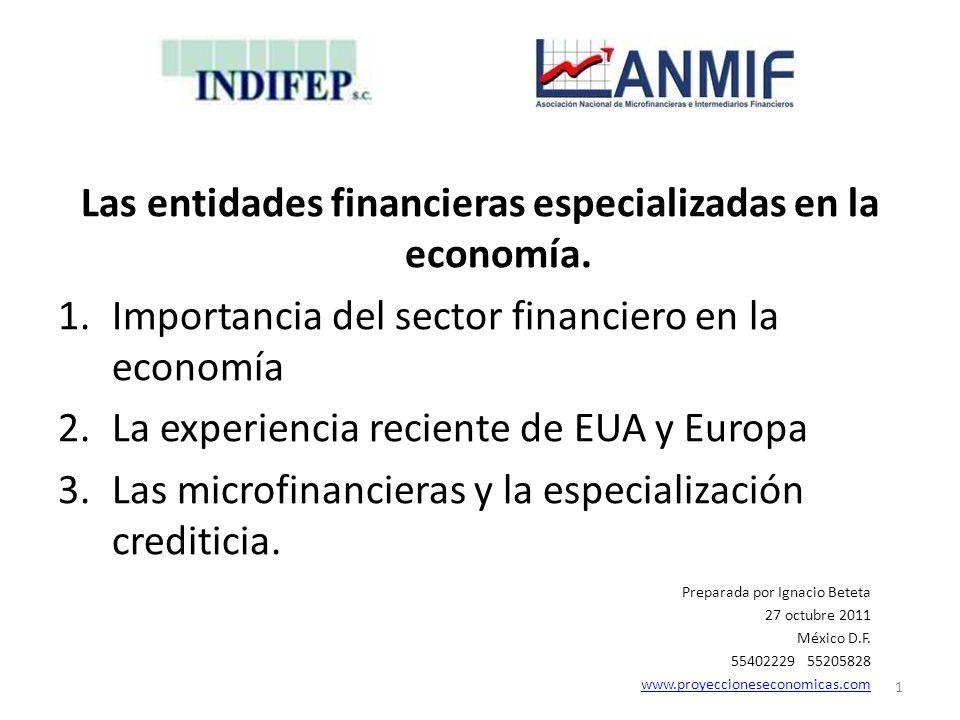 Las entidades financieras especializadas en la economía. 1.Importancia del sector financiero en la economía 2.La experiencia reciente de EUA y Europa
