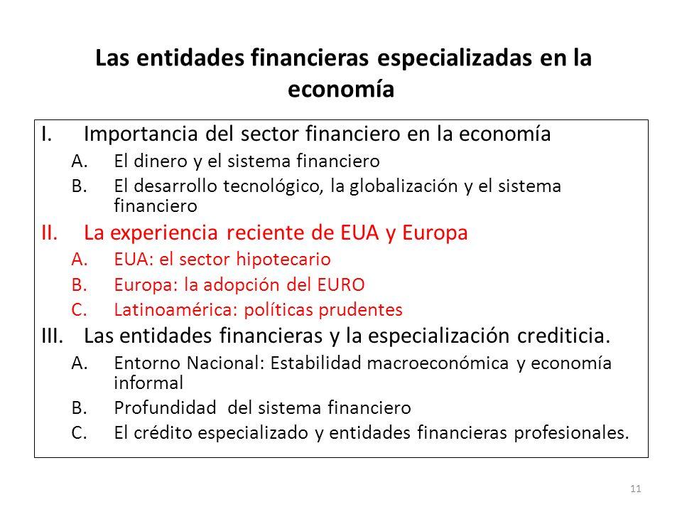 Las entidades financieras especializadas en la economía I.Importancia del sector financiero en la economía A.El dinero y el sistema financiero B.El de
