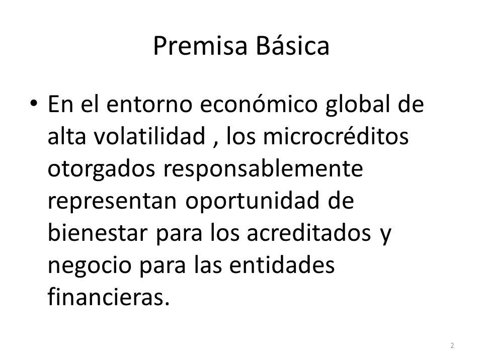 Premisa Básica En el entorno económico global de alta volatilidad, los microcréditos otorgados responsablemente representan oportunidad de bienestar p