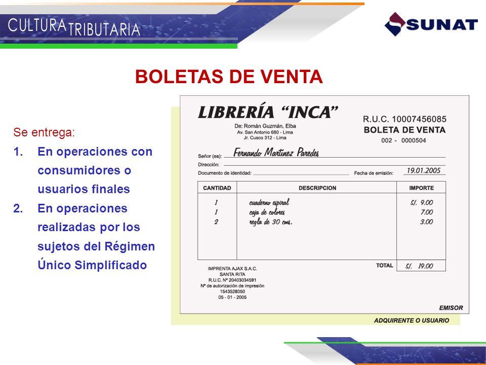 TICKETS Sólo podrán ser emitidos en moneda nacional Se entregan: 1.En operaciones donde existe la obligación de emitir boletas de venta.