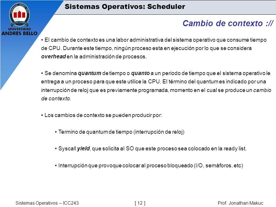 Sistemas Operativos – ICC243 [ 12 ] Prof. Jonathan Makuc Cambio de contexto :// El cambio de contexto es una labor administrativa del sistema operativ