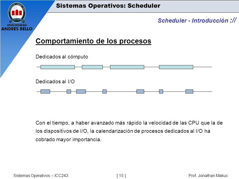Sistemas Operativos – ICC243 [ 15 ] Prof. Jonathan Makuc Scheduler - Introducción :// Comportamiento de los procesos Dedicados al cómputo Dedicados al