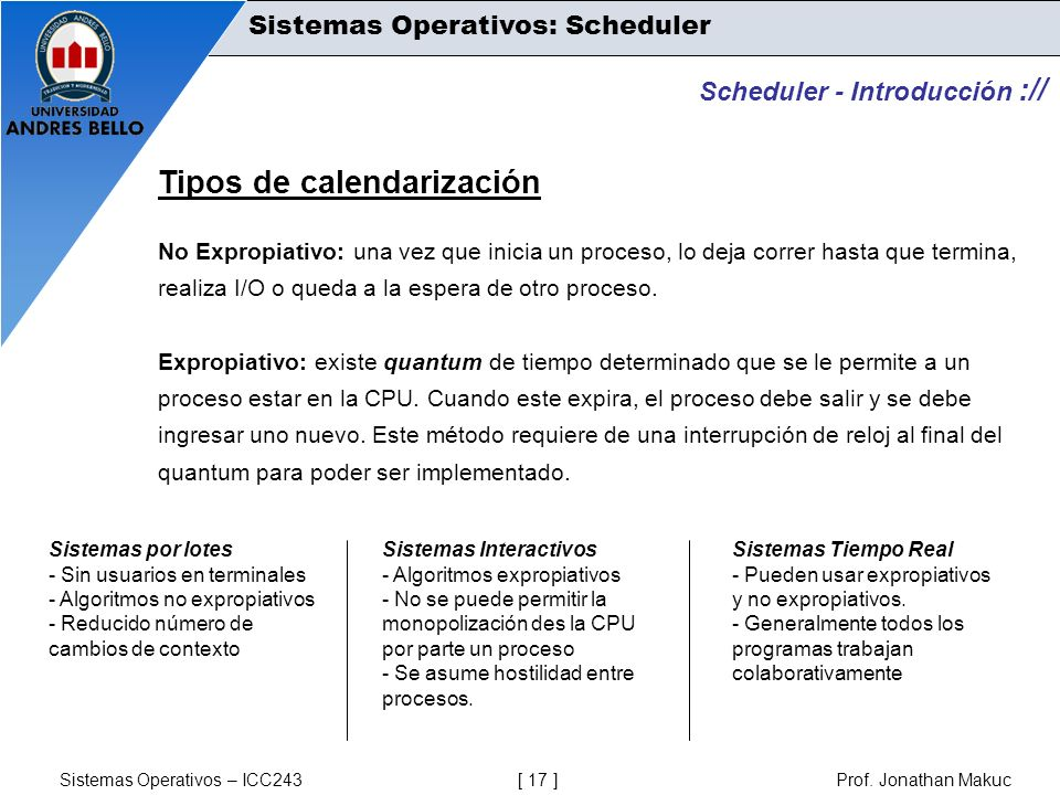 Sistemas Operativos – ICC243 [ 17 ] Prof. Jonathan Makuc Scheduler - Introducción :// Tipos de calendarización No Expropiativo: una vez que inicia un