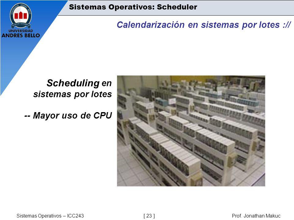 Sistemas Operativos – ICC243 [ 23 ] Prof. Jonathan Makuc Calendarización en sistemas por lotes :// Scheduling en sistemas por lotes -- Mayor uso de CP