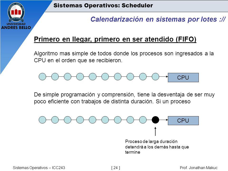 Sistemas Operativos – ICC243 [ 24 ] Prof. Jonathan Makuc Calendarización en sistemas por lotes :// Primero en llegar, primero en ser atendido (FIFO) A