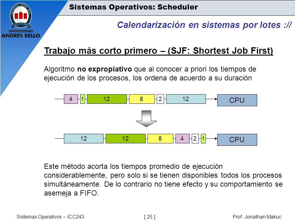 Sistemas Operativos – ICC243 [ 25 ] Prof. Jonathan Makuc Calendarización en sistemas por lotes :// Trabajo más corto primero – (SJF: Shortest Job Firs