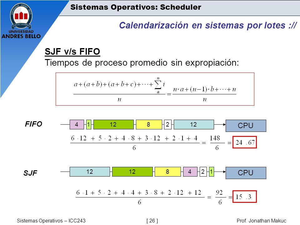 Sistemas Operativos – ICC243 [ 26 ] Prof. Jonathan Makuc Calendarización en sistemas por lotes :// SJF v/s FIFO Tiempos de proceso promedio sin exprop