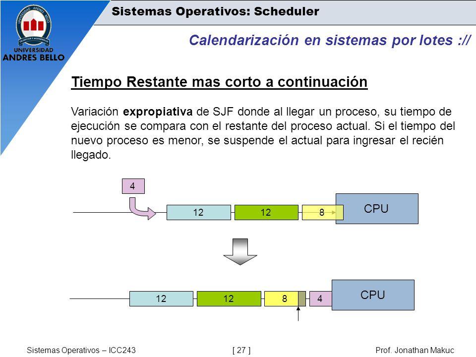 Sistemas Operativos – ICC243 [ 27 ] Prof. Jonathan Makuc Calendarización en sistemas por lotes :// Tiempo Restante mas corto a continuación Variación