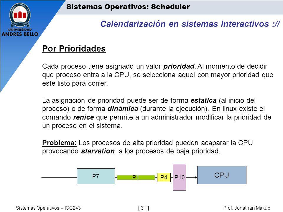 Sistemas Operativos – ICC243 [ 31 ] Prof. Jonathan Makuc Calendarización en sistemas Interactivos :// Por Prioridades Cada proceso tiene asignado un v