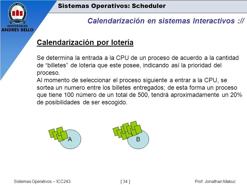 Sistemas Operativos – ICC243 [ 34 ] Prof. Jonathan Makuc Calendarización en sistemas Interactivos :// Calendarización por lotería Se determina la entr