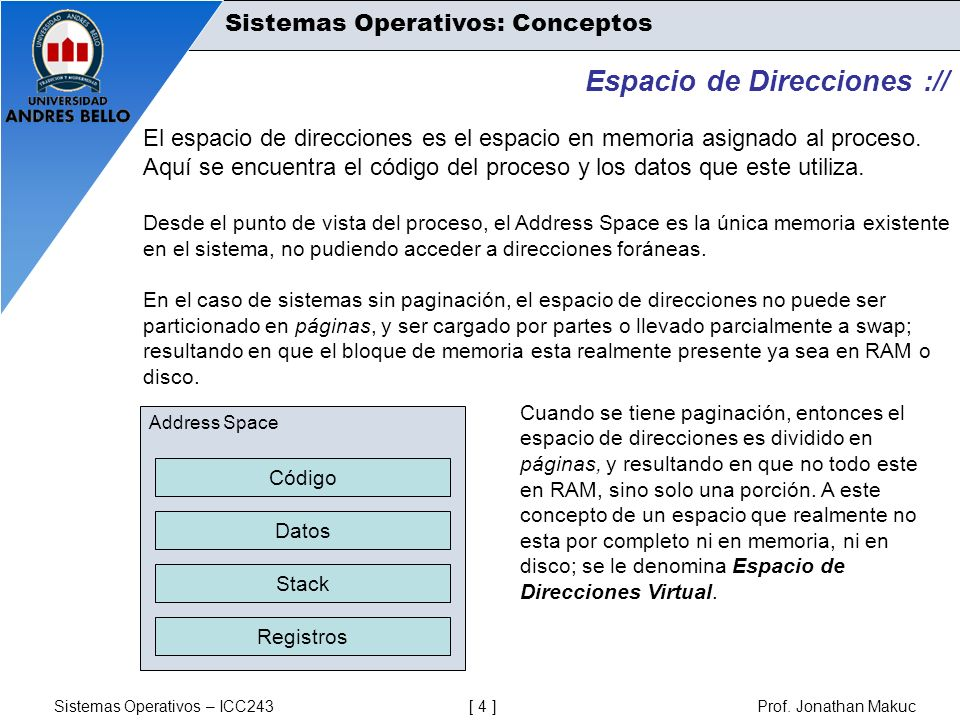 Sistemas Operativos – ICC243 [ 4 ] Prof. Jonathan Makuc Sistemas Operativos: Conceptos Espacio de Direcciones :// El espacio de direcciones es el espa