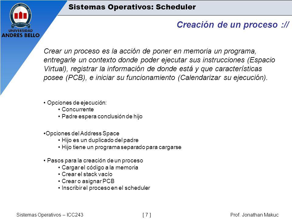Sistemas Operativos – ICC243 [ 7 ] Prof. Jonathan Makuc Sistemas Operativos: Scheduler Creación de un proceso :// Crear un proceso es la acción de pon