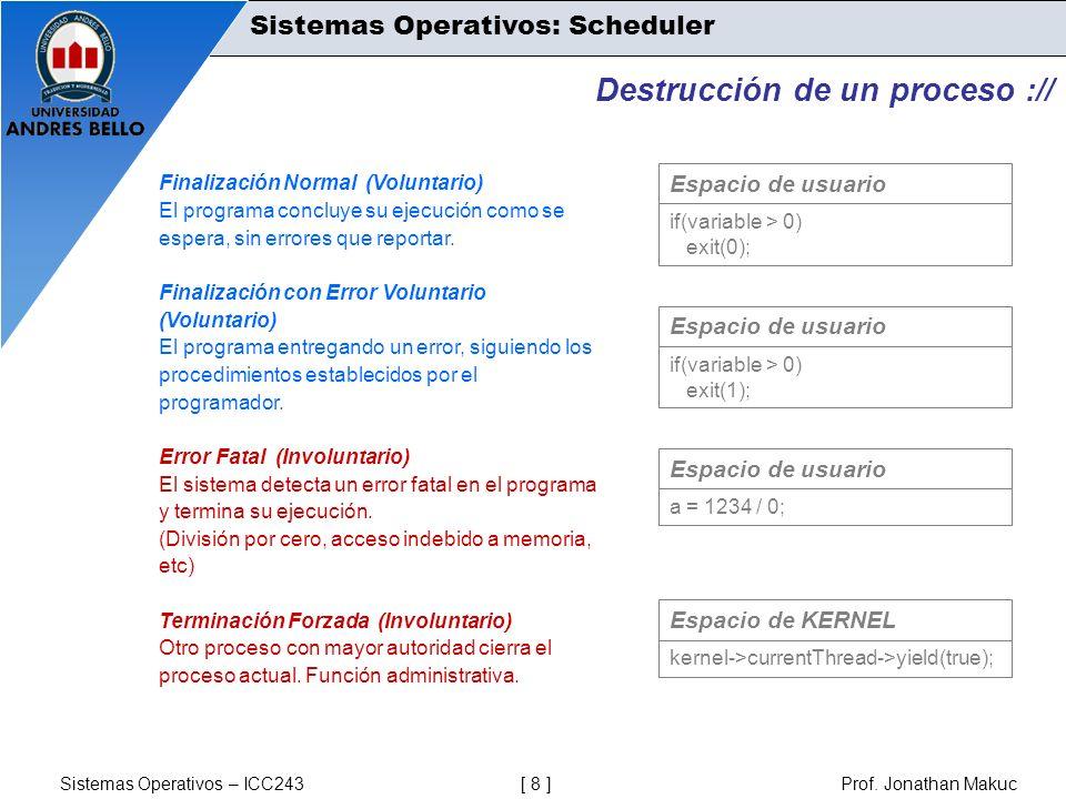 Sistemas Operativos – ICC243 [ 8 ] Prof. Jonathan Makuc Destrucción de un proceso :// Finalización Normal (Voluntario) El programa concluye su ejecuci